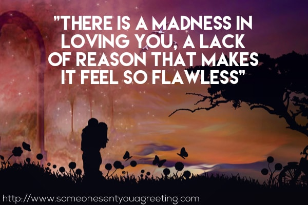 There is a madness in loving you, a lack of reason that makes it feel so flawless love saying