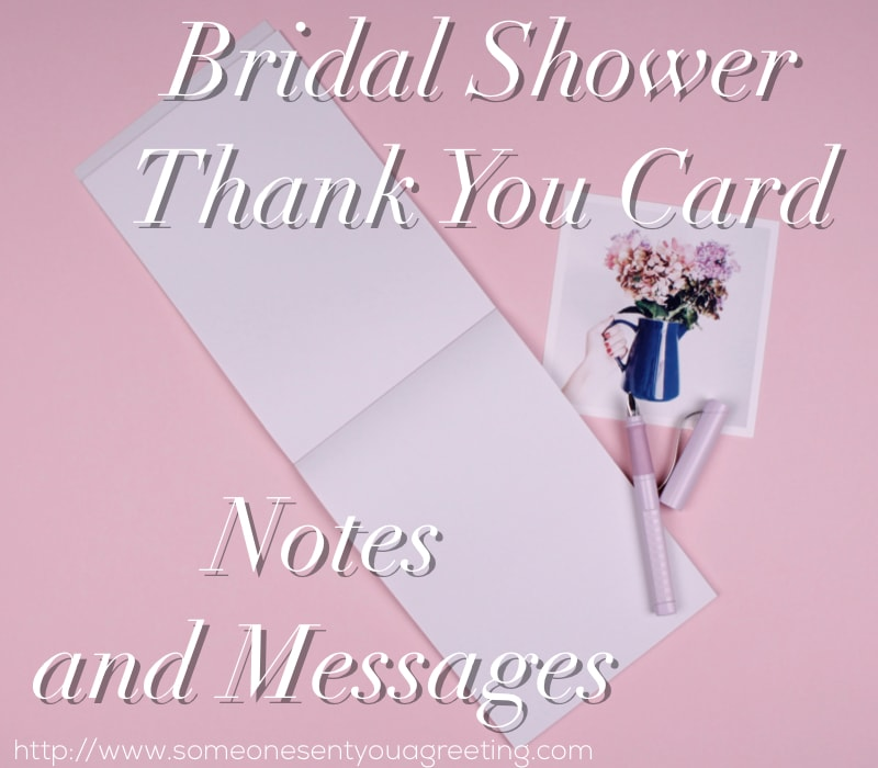 Bridal shower thank you card notes and messages