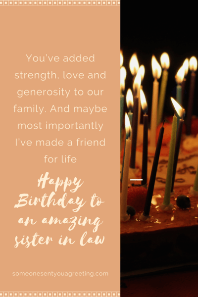 Friend for life Sister in Law Birthday Message