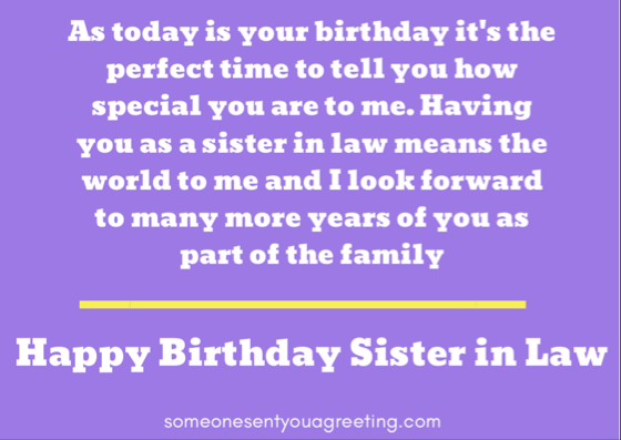 How special you are to me sister in law happy birthday