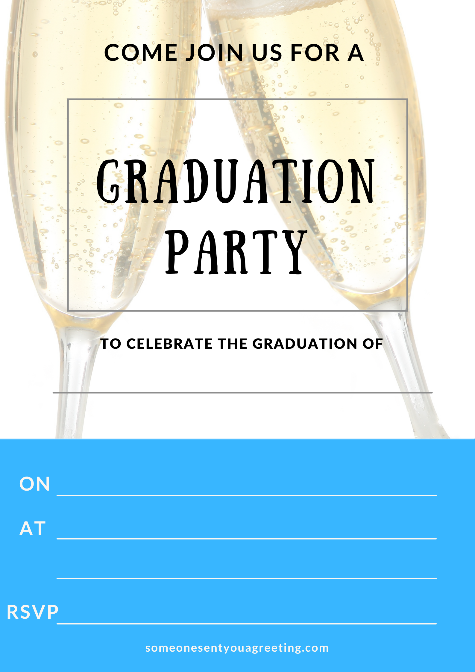champagne glasses graduation party invitation printable template