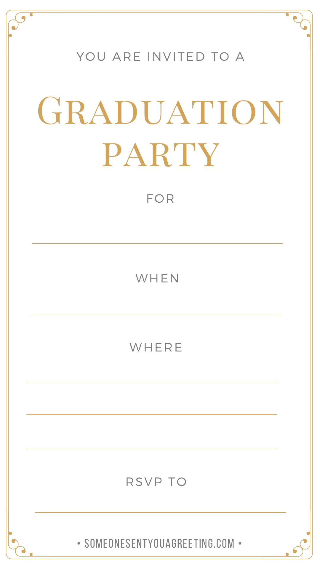 golden graduation party invitation template