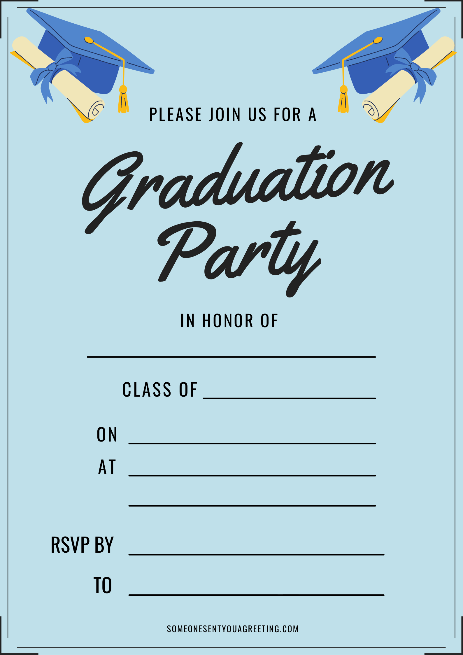 In honor of graduation party invitation printable template