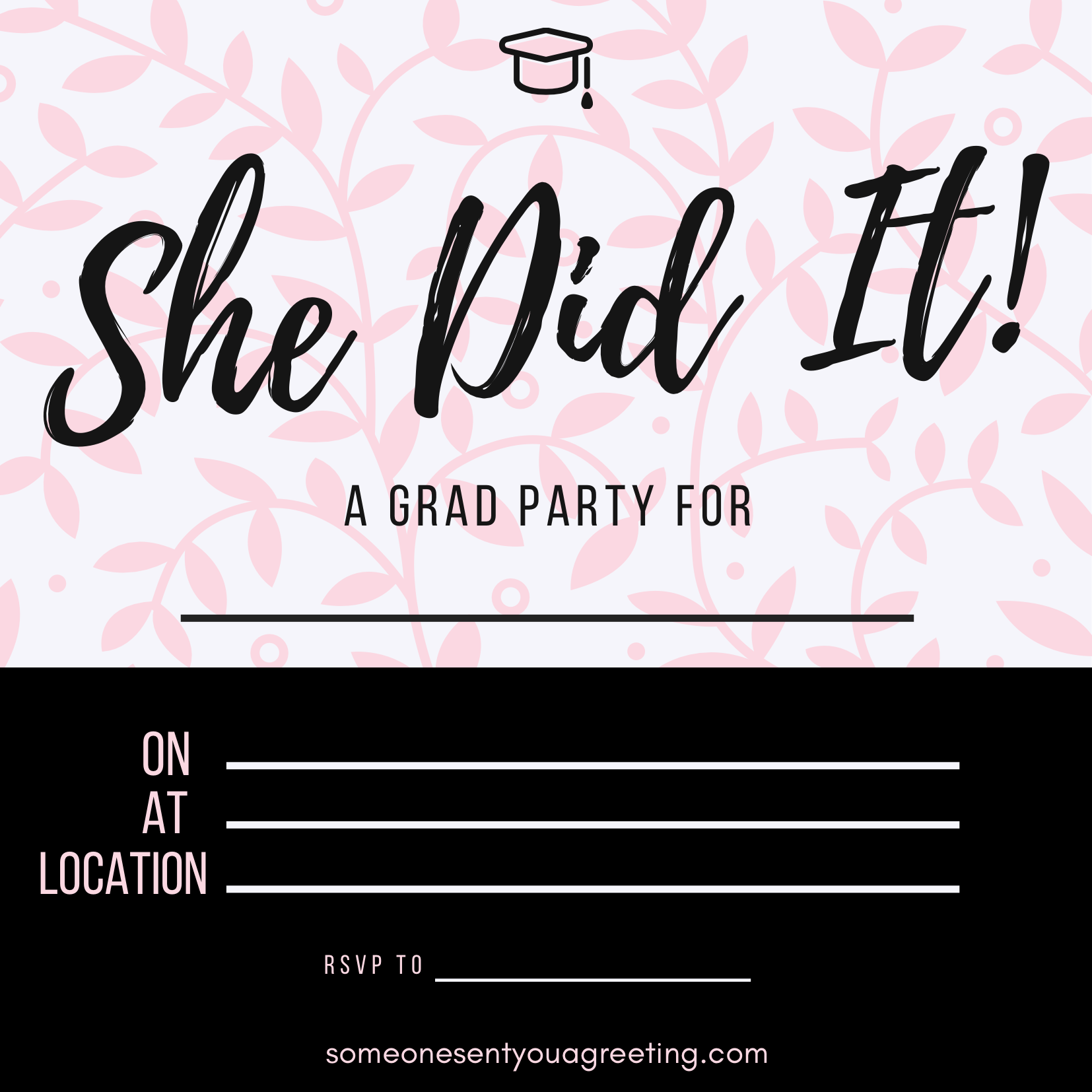She did it graduation party invitation template
