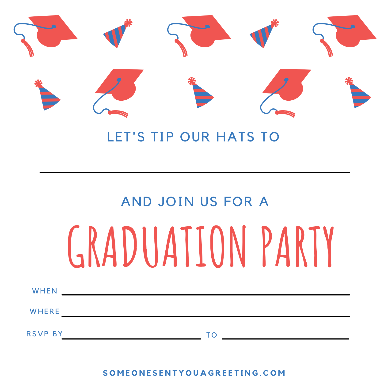 tips hat graduation party invitation template