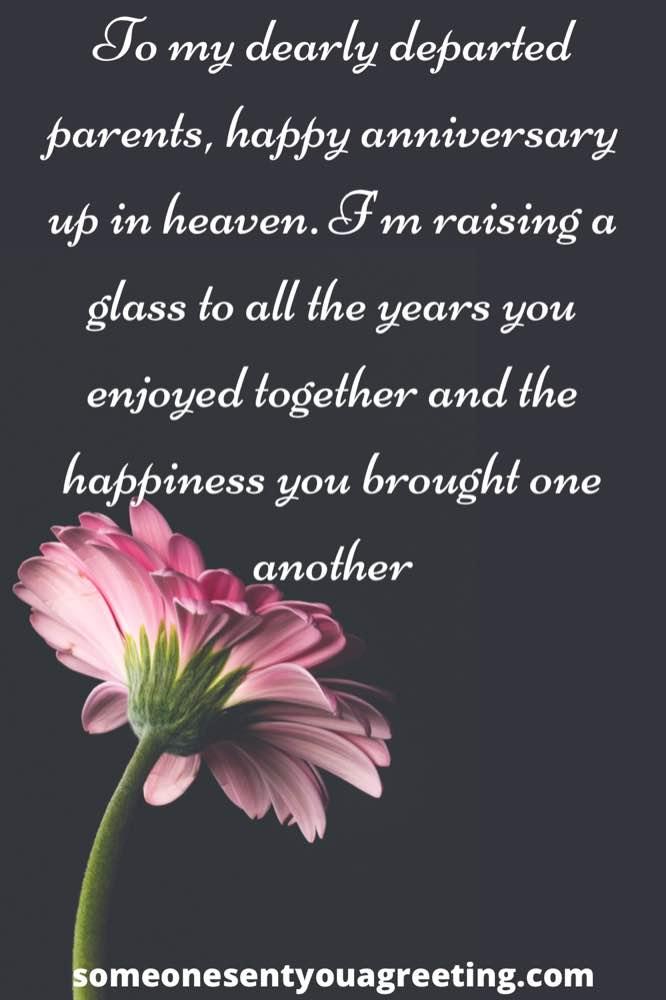 Happy wedding anniversary for parents in heaven