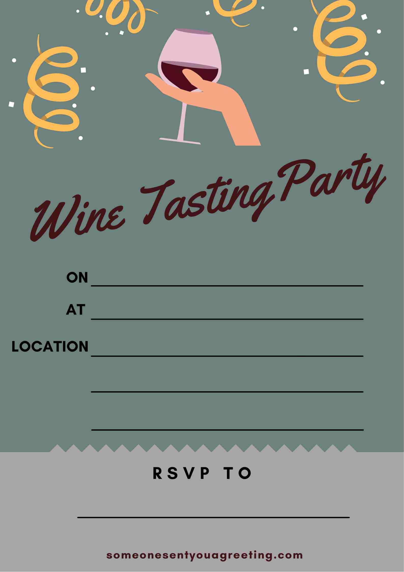 printable wine tasting party invitation example